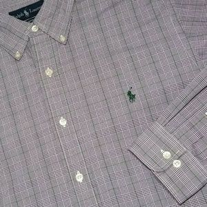 RALPH LAUREN Purple/Green Plaid Long Sleeve Shirt